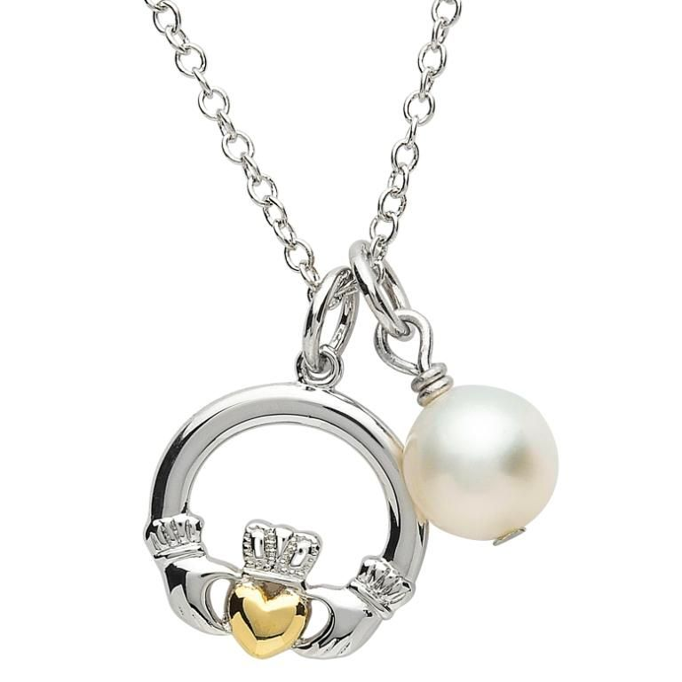 Pendants necklaces platinumware claddagh pearl pendant irish pendants necklaces platinumware claddagh pearl pendant aloadofball Images
