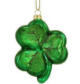 ORNAMENTS GREEN SHAMROCK GLASS ORNAMENT