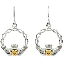 EARRINGS PlatinumWare CLADDAGH WAVE EARRINGS