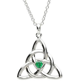 PENDANTS & NECKLACES PlatinumWare CELTIC TRINITY WITH GREEN CZ PENDANT