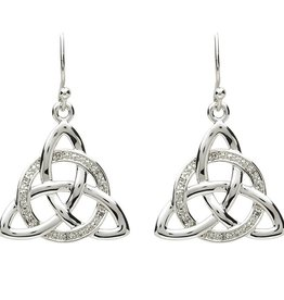 EARRINGS PlatinumWare CELTIC STONE SET TRINITY WITH CIRCLE EARRINGS