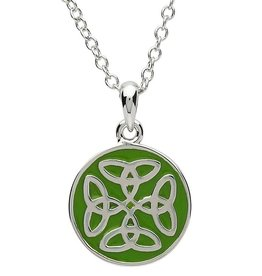 PENDANTS & NECKLACES PlatinumWare GREEN ENAMEL 4 TRINITY CIRCLE PENDANT