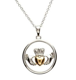 PENDANTS & NECKLACES STERLING SILVER & GOLD PLATE CLADDAGH CIRCLE PENDANT