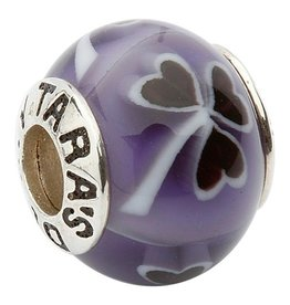 BEADS TARAS DIARY GLASS PURPLE SHAMROCK BEAD