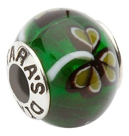 BEADS TARAS DIARY GLASS GREEN SHAMROCK BEAD