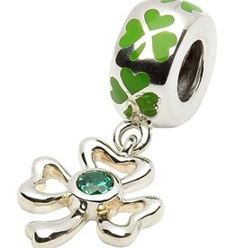 BEADS TARAS DIARY GREEN ENAMEL DANGLE SHAMROCK BEAD
