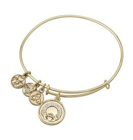 BRACELETS & BANGLES SOLVAR GOLD TONE CZ CLADDAGH CHARM BANGLE