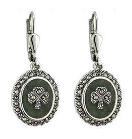 EARRINGS SOLVAR STERLING with CONNEMARA & MARCASITE SHAMROCK EARRINGS