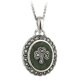 PENDANTS & NECKLACES SOLVAR STERLING with CONNEMARA & MARCASITE SHAMROCK PENDANT
