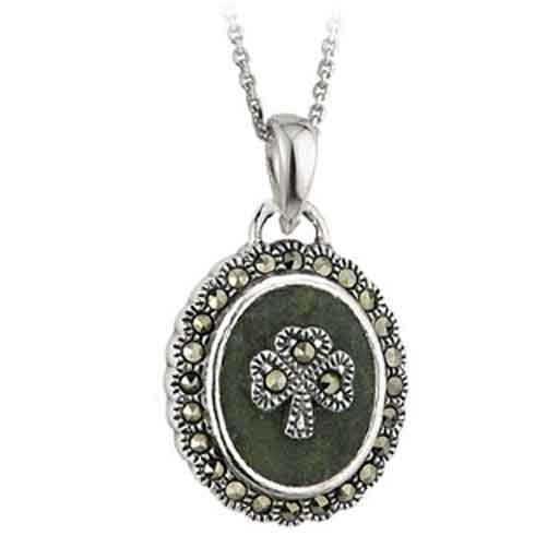 Pendants necklaces solvar sterling with connemara marcasite pendants necklaces solvar sterling with connemara marcasite shamrock pendant mozeypictures Choice Image