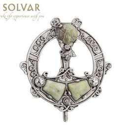 PINS & BROACHES SOLVAR RODIUM PLATE SML TARA BROOCH with CONNAMARA