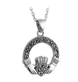 PENDANTS & NECKLACES SOLVAR STERLING & MARCASITE CLADDAGH PENDANT