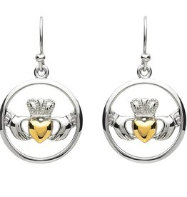 EARRINGS PlatinumWare CIRCLE CLADDAGH EARRINGS