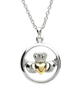 PENDANTS & NECKLACES PlatinumWare CIRCLE CLADDAGH PENDANT