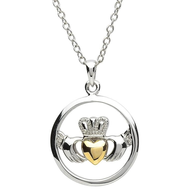 irish claddagh giftstore erin silvergolddiamond gold pendant sterling product jewelry and diamond silver