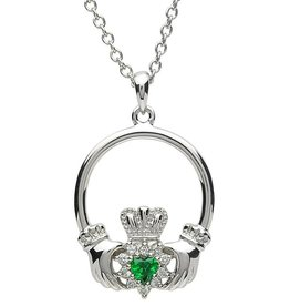 PENDANTS & NECKLACES PlatinumWare STONE SET CLUSTER CLADDAGH PENDANT