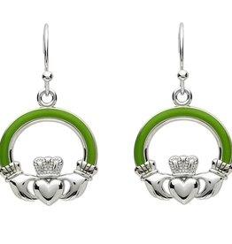EARRINGS PlatinumWare GREEN ENAMEL LARGE CLADDAGH EARRINGS