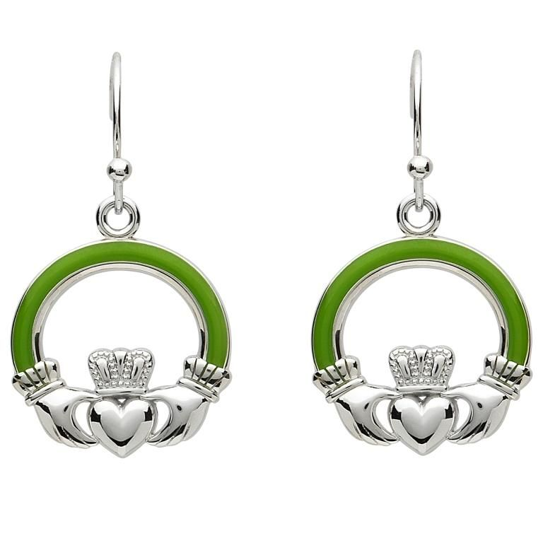 EARRINGS PlatinumWare GREEN ENAMEL LARGE CLADDAGH EARRINGS