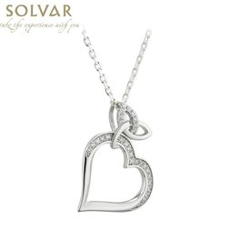 PENDANTS & NECKLACES SOLVAR STERLING TRINITY HEART with STONES PENDANT