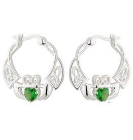 EARRINGS SOLVAR STERLING CELTIC CLADDAGH with GREEN CZ EARRINGS