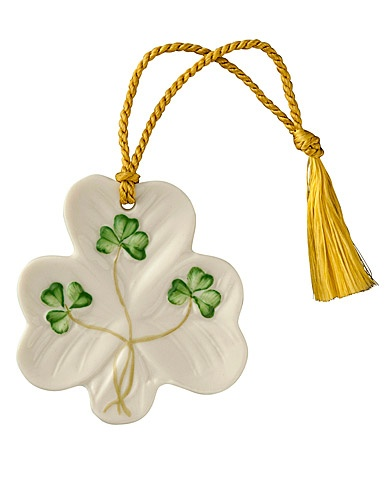 ORNAMENTS SHAMROCK SHAPED BELLEEK ORNAMENT