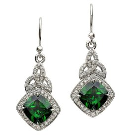 EARRINGS STERLING SILVER TRINITY CELTIC HALO EARRINGS - GREEN CZ