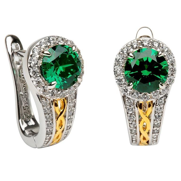 Earrings Sterling Silver Celtic Halo Green Cz