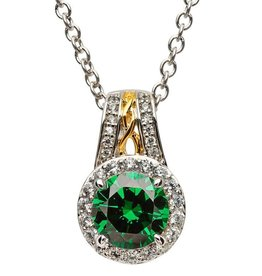 PENDANTS & NECKLACES STERLING SILVER CELTIC HALO PENDANT - GREEN CZ