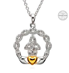 PENDANTS & NECKLACES STERLING SILVER TRINITY CLADDAGH PENDANT with SWAROVSKI CRYSTALS