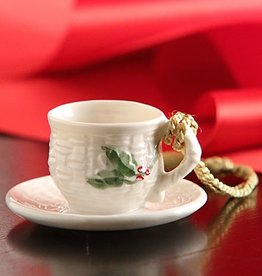 ORNAMENTS CUP & SAUCER BELLEEK ORNAMENT