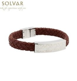 BRACELETS & BANGLES SOLVAR CELTIC MAN STAINLESS & BRN LEATHER BRACELET