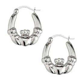 EARRINGS SOLVAR STERLING LRG CLADDAGH HOOP EARRINGS