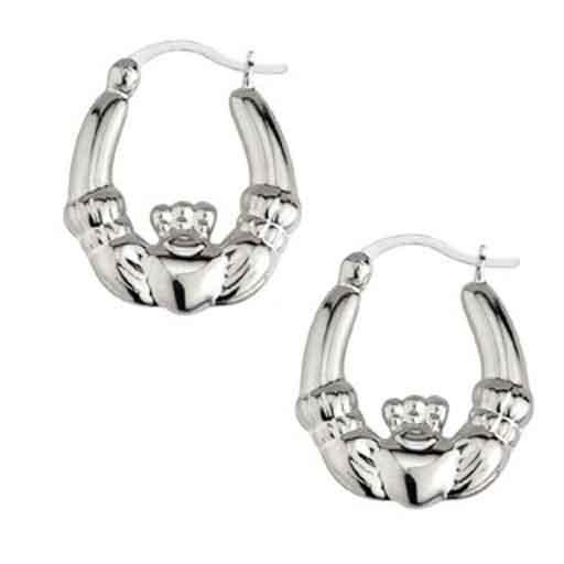 Earrings Solvar Sterling Lrg Claddagh Hoop