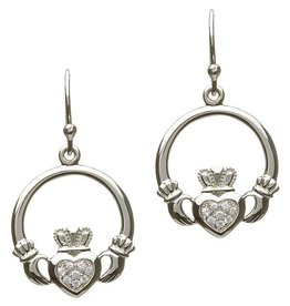 EARRINGS STERLING SILVER PAVE CZ CLADDAGH EARRINGS