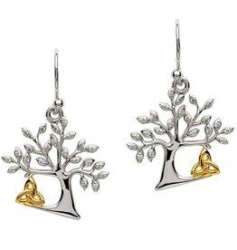 EARRINGS STERLING SILVER TREE OF LIFE TRINITY EARRINGS