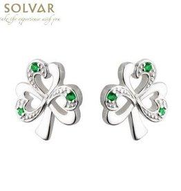 EARRINGS SOLVAR STERLING FANCY SHAMROCK with GREEN STONES EARRINGS
