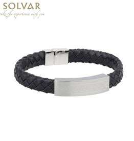 MENS JEWELRY SOLVAR CELTIC MAN STAINLESS & BLK LEATHER BRACELET