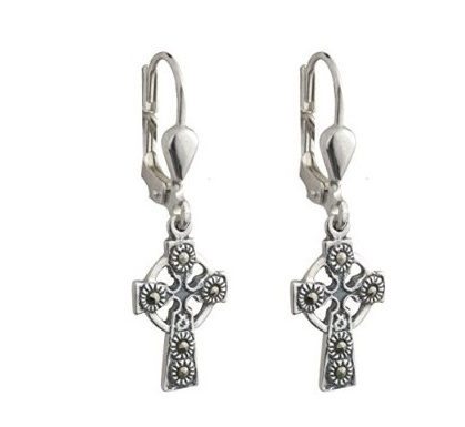 Earrings Solvar Sterling Marcasite Cross