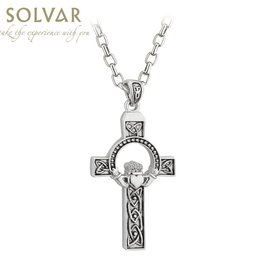CROSSES SOLVAR STERLING LRG CLADDAGH CROSS PENDANT with STAINLESS-STEEL CHAIN