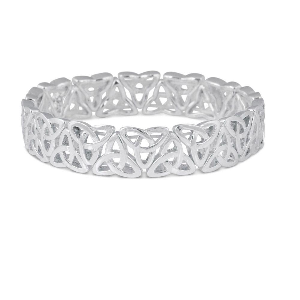 Bracelets Bangles Trinity Knot Silver Plate Stretch Bracelet Sml