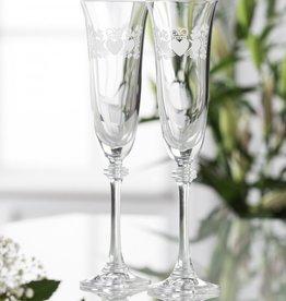 WEDDING FLUTES GALWAY CRYSTAL LIBERTY CLADDAGH SHAMROCK FLUTES (2)