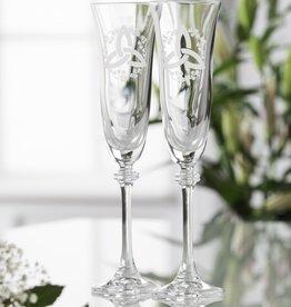 WEDDING FLUTES GALWAY CRYSTAL LIBERTY TRINITY SHAMROCK FLUTES (2)