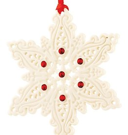 ORNAMENTS BELLEEK LIVING SNOWFLAKE ORNAMENT with RED GEMS