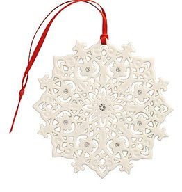 ORNAMENTS BELLEEK LIVING LACE SNOWFLAKE ORNAMENT with GEMS