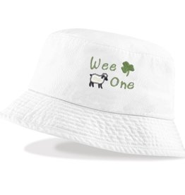 "BABY ACCESSORIES ""WEE ONE"" BUCKET HAT WITH SHAMROCK"
