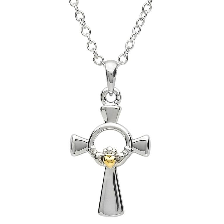 Platinumware Small Gold Heart Claddagh Celtic Cross Irish Crossroads