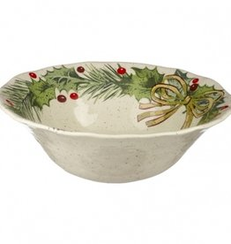 HOLIDAY HOLLY LEAF ROUND BOWL