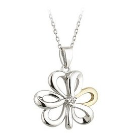 PENDANTS & NECKLACES SILVER & GOLD SHAMROCK PENDANT WITH DIAMOND