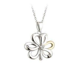 Pendants necklaces silver gold shamrock pendant with diamond pendants necklaces silver gold shamrock pendant with diamond irish crossroads aloadofball Images