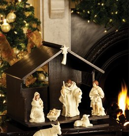 HOLIDAY BELLEEK NATIVITY SET WITH MANGER & STAR